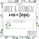 Brick & Botanical Galvanized Name Tags {Editable}