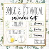 Brick & Botanical Gold Classroom Calendar Set