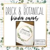Brick & Botanical Gold Classroom Decor Binder Covers & Spi