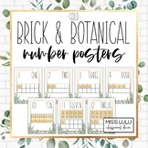 Brick & Botanical Gold Classroom Decor Number Posters
