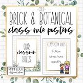 Brick & Botanical Gold Classroom Rules {Editable Posters}