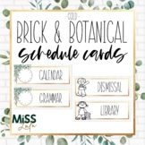 Brick & Botanical Gold Classroom Schedule Cards