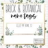 Brick & Botanical Gold Name Tags {Editable}