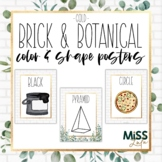 Brick & Botanical Gold Shape and Color Posters