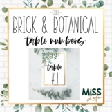 Brick & Botanical Gold Table Numbers Classroom Decor