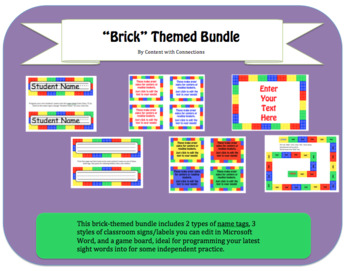 Brick (Lego) Name Tags, Sign & Editable Labels