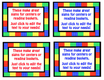 Brick (Lego) Editable Desk Tags, Labels, & Signs to Set Up for Back to School