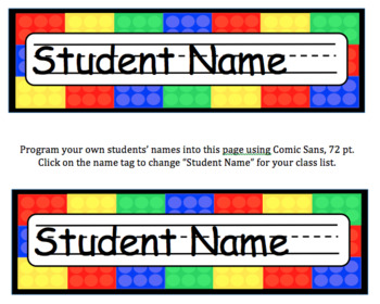 Brick (Lego) Editable Name Tags for Desks & Signs for Back ...