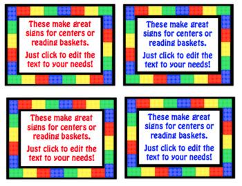 Brick (Lego) Editable Name Tags for Desks & Signs for Back ...