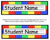 Brick (Lego) Editable Name Tags for Desks & Signs for Back