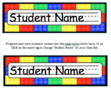 Brick (Lego) Editable Name Tags for Desks & Signs for Back