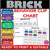 Brick Classroom Behavior Clip Chart EDITABLE