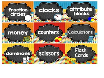 Brick Theme & Chalk Board Supply Labels With Pictures