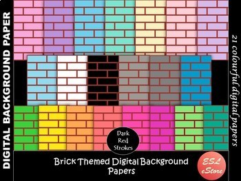 Brick Themed Digital Papers Set 2 Pastel and Bright 12x12