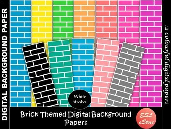 Brick Themed Digital Papers Set 3 Bright Colours 12x12