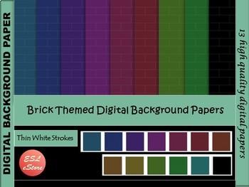 Brick Themed Digital Papers Set 5 Dark Colours 12x12