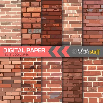 Brick Wall Digital Paper, Brick Digital Background