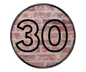 Brick and Black Number Tags 1-30