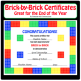 Brick by Brick (Lego) End of the Year Award Certificates--