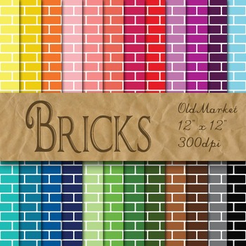 Bricks - Digital Paper Pack - 24 Different Papers - 12 x 12