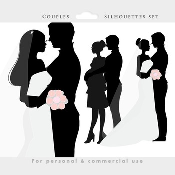Bride and groom clipart - wedding clip art, wedding dress, pregnant couple