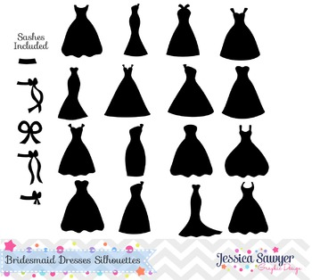 Bridesmaid dresses silhouettes clipart, silhouette clipart
