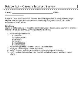 Bridge Act - Career Interest Survey Activity