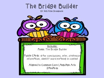 Common Core Poetry Puzzle Cards: The Bridge Builder