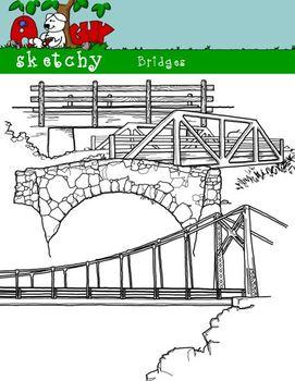 Bridge Clipart / Graphics - 300dpi Black Lined and White Transparent Background