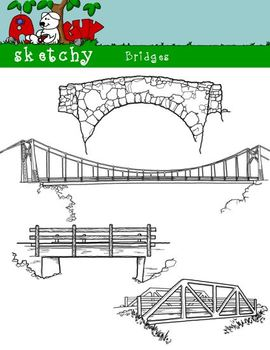 Bridge Clipart / Graphics - 300dpi Black Lined and White Transparent Background