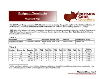 Bridge To Terabithia - CCQ Novel Study Assessment Workbook - Common Core Aligned