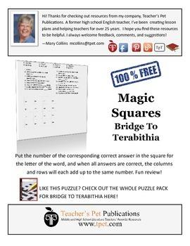 Bridge To Terabithia Magic Squares Activity