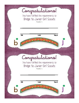 Bridge to Junior Girl Scouts Certificate