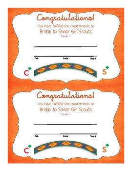 Bridge to Senior Girl Scouts Certificate