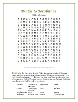 Bridge to Terabithia: 4 Categorized Word Searches Based on the Book!
