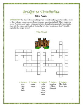 Bridge to Terabithia: 4 Nouns and Verbs Fill-In Puzzles—Fun Downtime Activities!