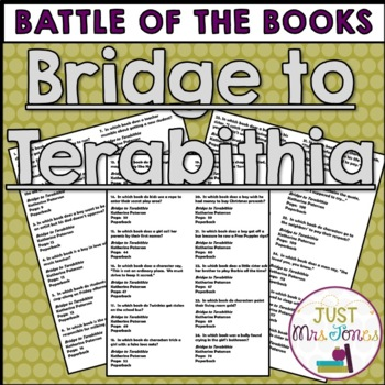 Bridge to Terabithia Battle of the Books Trivia Questions