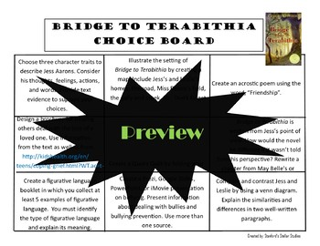 Bridge to Terabithia Choice Board Menu Novel Study Activities Menu Book Project