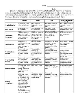 Bridge to Terabithia Compare and Contrast Essay of the book and movie Rubric