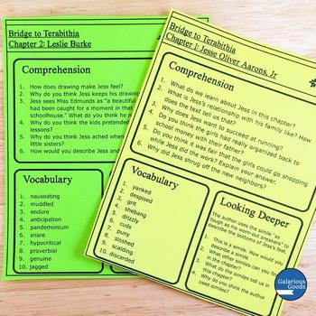 Bridge to Terabithia Comprehension and Vocabulary