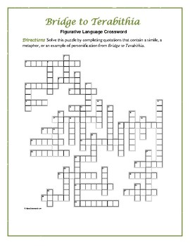 Bridge to Terabithia: Figurative Language Crossword—Fun and Unique!