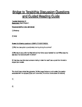 Bridge to Terabithia Guided Reading Guide