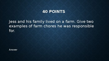 Bridge to Terabithia - Jeopardy Game