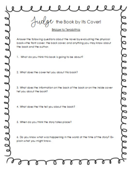 """Bridge to Terabithia """"Judge a Book by Its Cover"""" Pre-Reading Activity"""