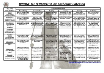 Bridge to Terabithia - Katherine Paterson Blooms & Gardner Grid with task cards