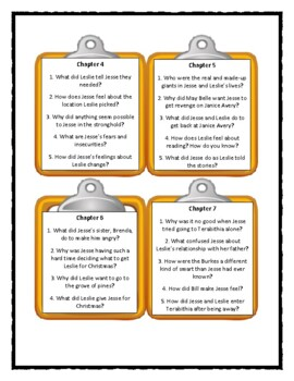 Bridge to Terabithia - Katherine Paterson - Discussion Cards