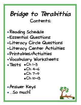 Bridge to Terabithia: Literature Study (Tests, Vocabulary, Printables, and MORE)