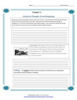 Bridge to Terabithia Novel Unit Plus Grammar