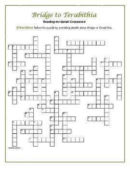 Bridge to Terabithia: Prereading Crossword—50 words!