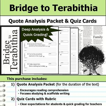 Bridge to Terabithia - Quote Analysis & Reading Quizzes